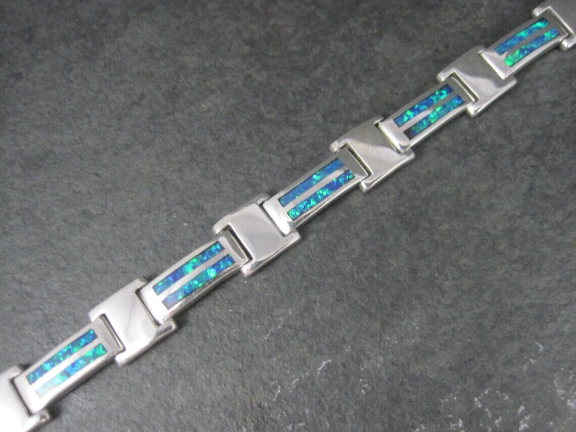 Estate Sterling Opal Inlay Bracelet 7.75 Inches