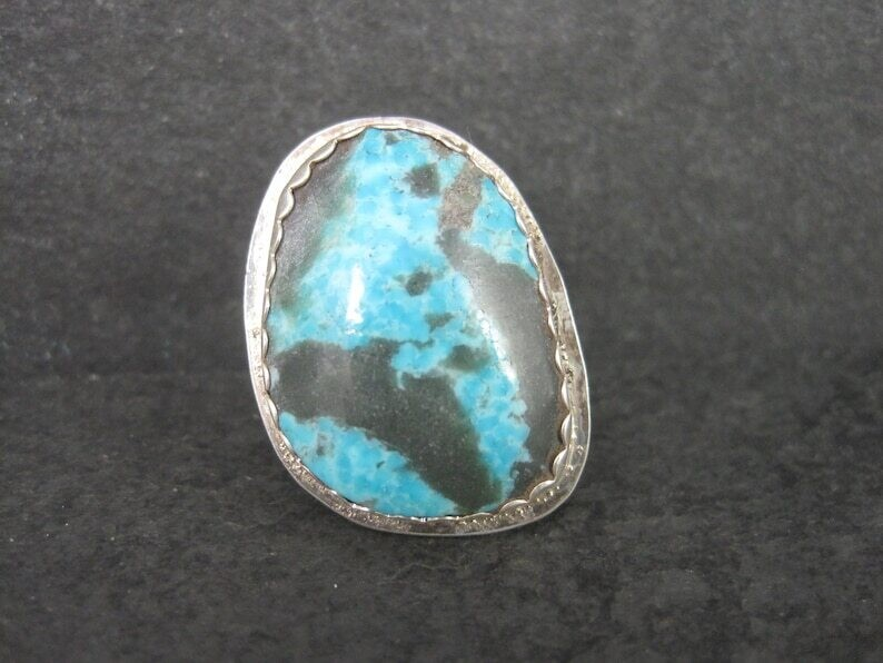 Estate Navajo Sterling Turquoise Ring Size 7