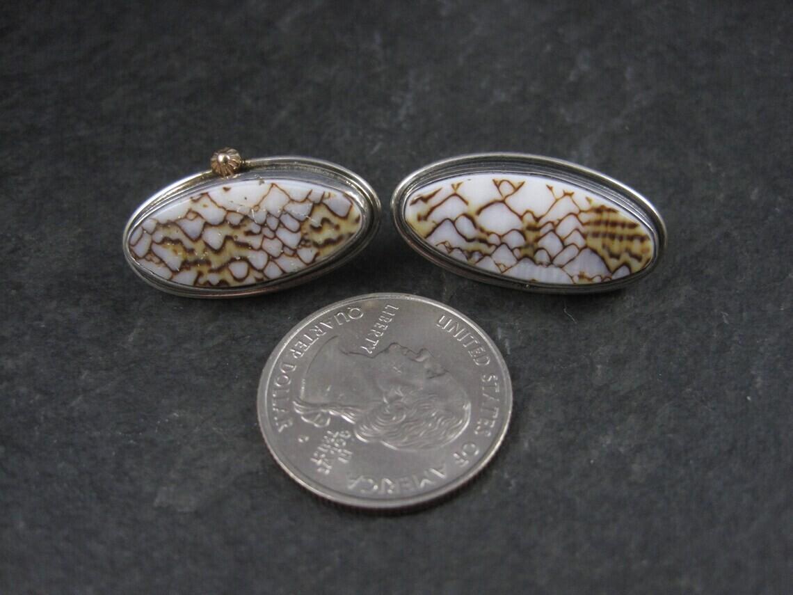 Vintage Navajo Sterling 14K Earrings Andrew Johnson