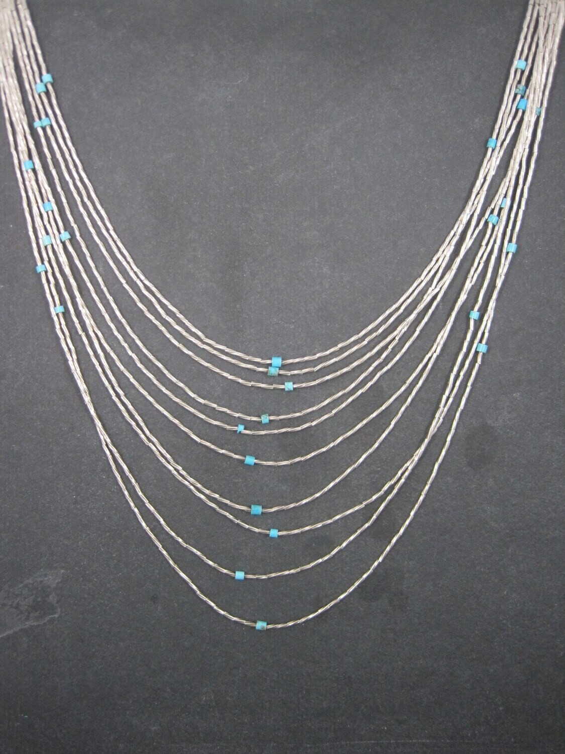 Sterling 10 Strand Liquid Silver Turquoise Necklace