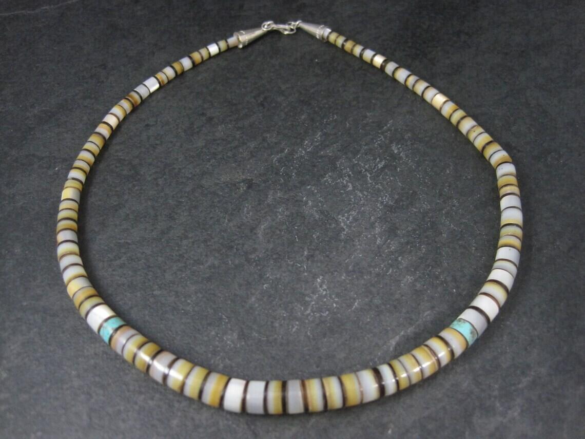 """Southwestern Turquoise Shell Necklace 17"""""""