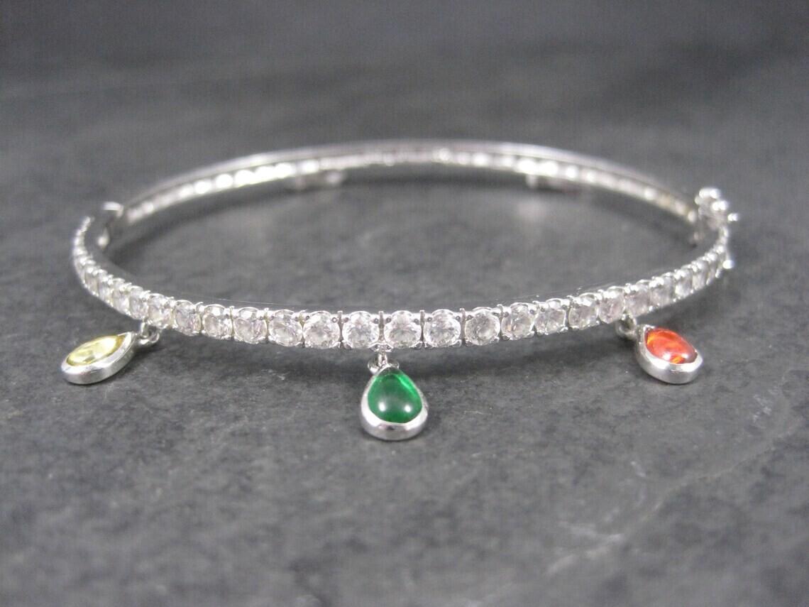 Estate Sterling Gemstone Dangle Charm Bangle Bracelet 7.25 Inches