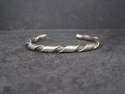 Vintage Southwestern Sterling Twisted Rope Cuff Bracelet 6 Inches