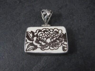 Estate Sterling Floral Pottery Pendant Necklace