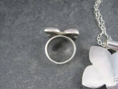 Estate Sterling Dogwood Flower Pendant Ring Jewelry Set Size 5.5