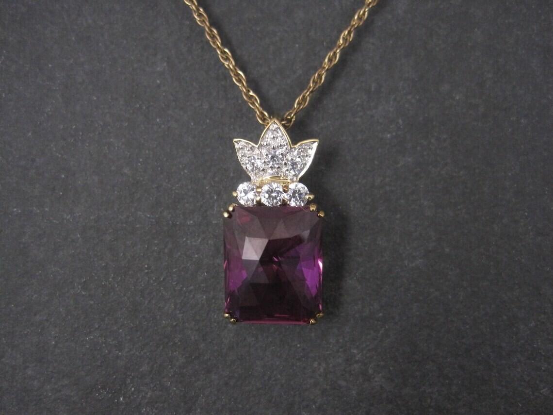 Estate Vermeil Sterling Purple Sapphire Pendant Necklace