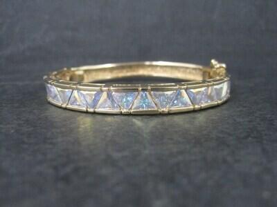 Estate Vermeil Sterling Crystal Bangle Bracelet 6.25 Inches