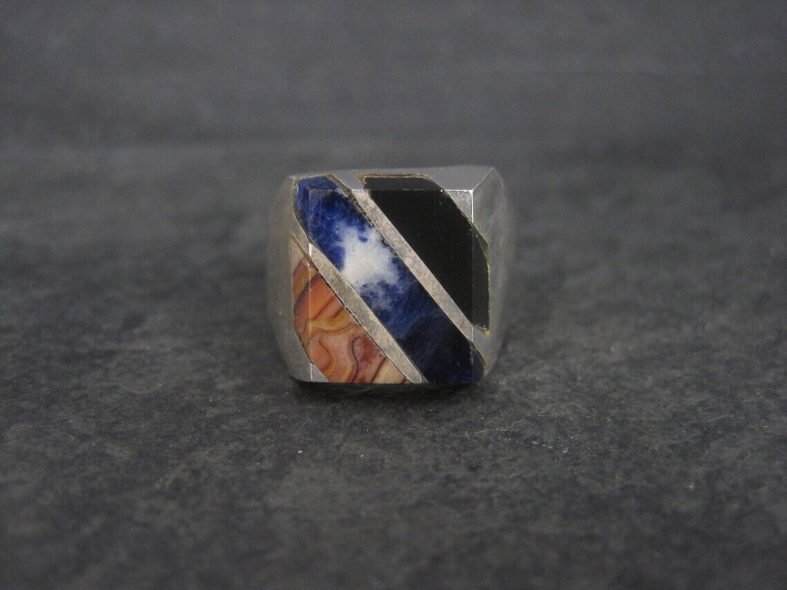Estate Mexican Sterling Sodalite Onyx Ring Size 10