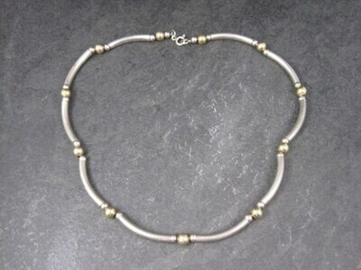 Vintage Sterling 14K Bead Necklace 16 Inches