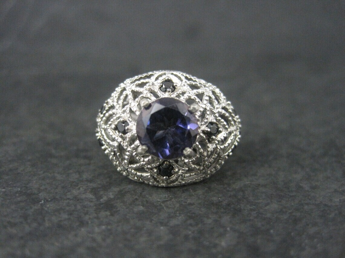 Sterling Purple Topaz Black Tourmaline Ring Size 6