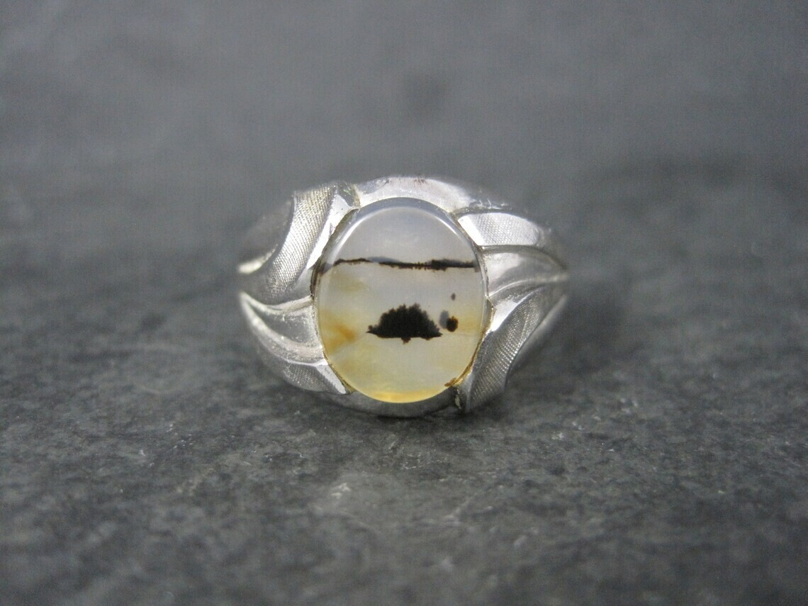 Mens Vintage Sterling Dendritic Agate Ring Size 12.5 Clark & Coombs
