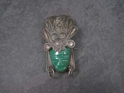 Vintage Mexican Sterling Mayan Mask Brooch AIM