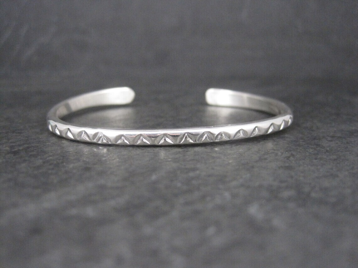 Southwestern Sterling Cuff Bracelet 6 Inches