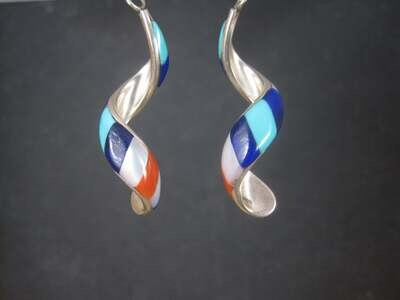 Vintage Southwestern Sterling Red White Blue Inlay Earrings