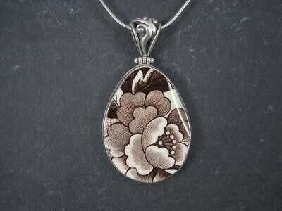 Vintage Sterling Flower Pottery Pendant Necklace