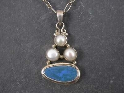Vintage Sterling Pearl Blue Opal Pendant