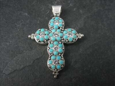Vintage Barse Sterling Turquoise Flower Cross Pendant