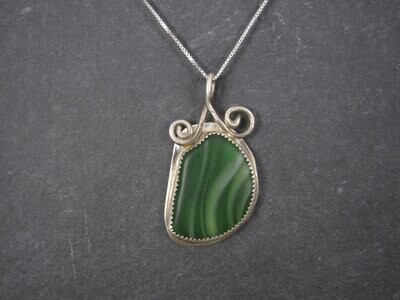 Vintage Sterling Green Beach Glass Pendant Necklace