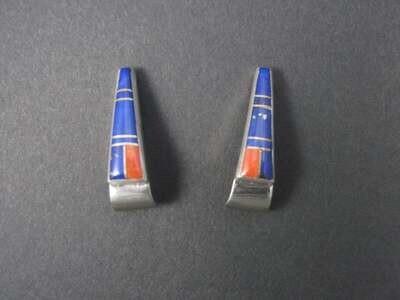 Vintage Navajo Lapis Coral Inlay Earrings Lorraine Long