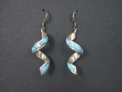 Vintage Southwestern Sterling Turquoise Opal Twist Earrings