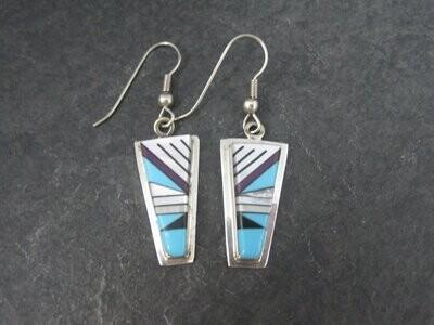 Vintage Southwestern Sterling Turquoise Inlay Earrings