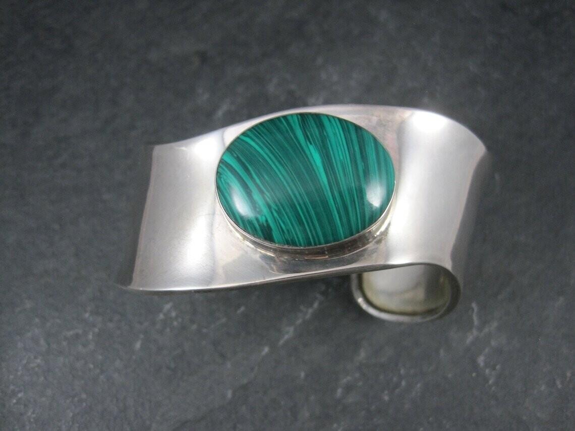 Mexican Sterling Faux Malachite Cuff Bracelet 7 Inches