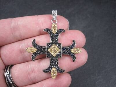 Estate Sterling Black Yellow Sapphire Cross Pendant