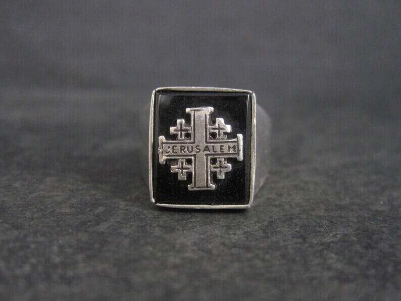 Vintage Jerusalem Ring 950 Silver Size 10