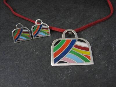 Estate Enamel Sterling Handbag Necklace Earrings Jewelry Set