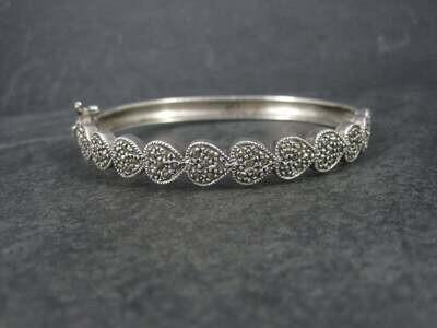 Vintage Sterling Marcasite Heart Bangle Bracelet 7 Inches