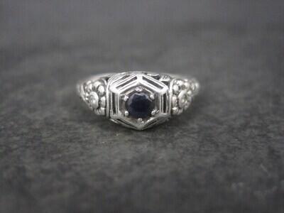 Estate Sterling Filigree Sapphire Diamond Ring Size 8