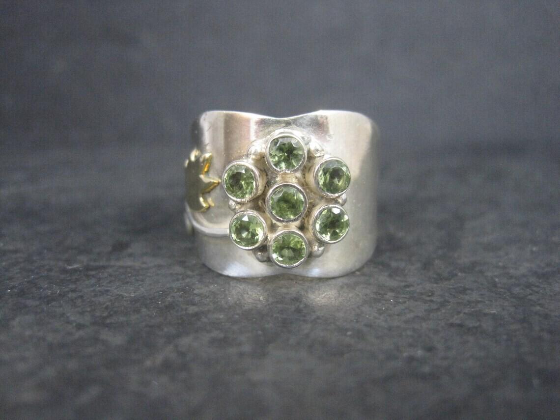 Wide Sterling Peridot Flower Ring Size 8