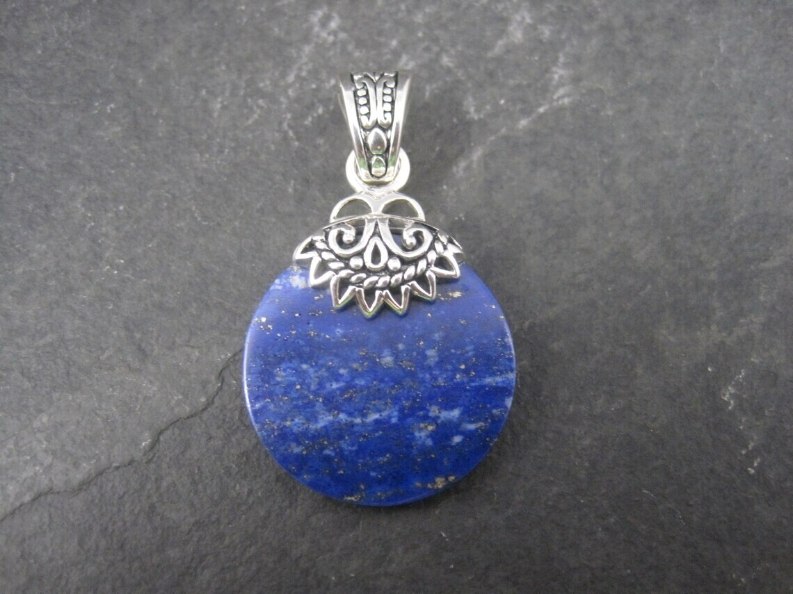 Estate Sterling Lapis Lazuli Enhancer Pendant