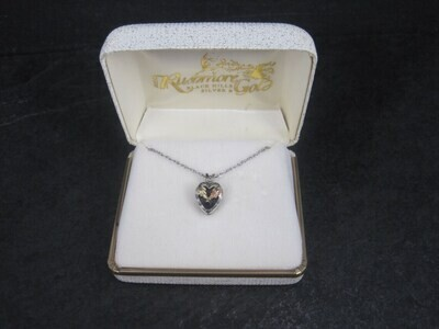 Estate Black Hills Gold and Silver Heart Pendant Necklace