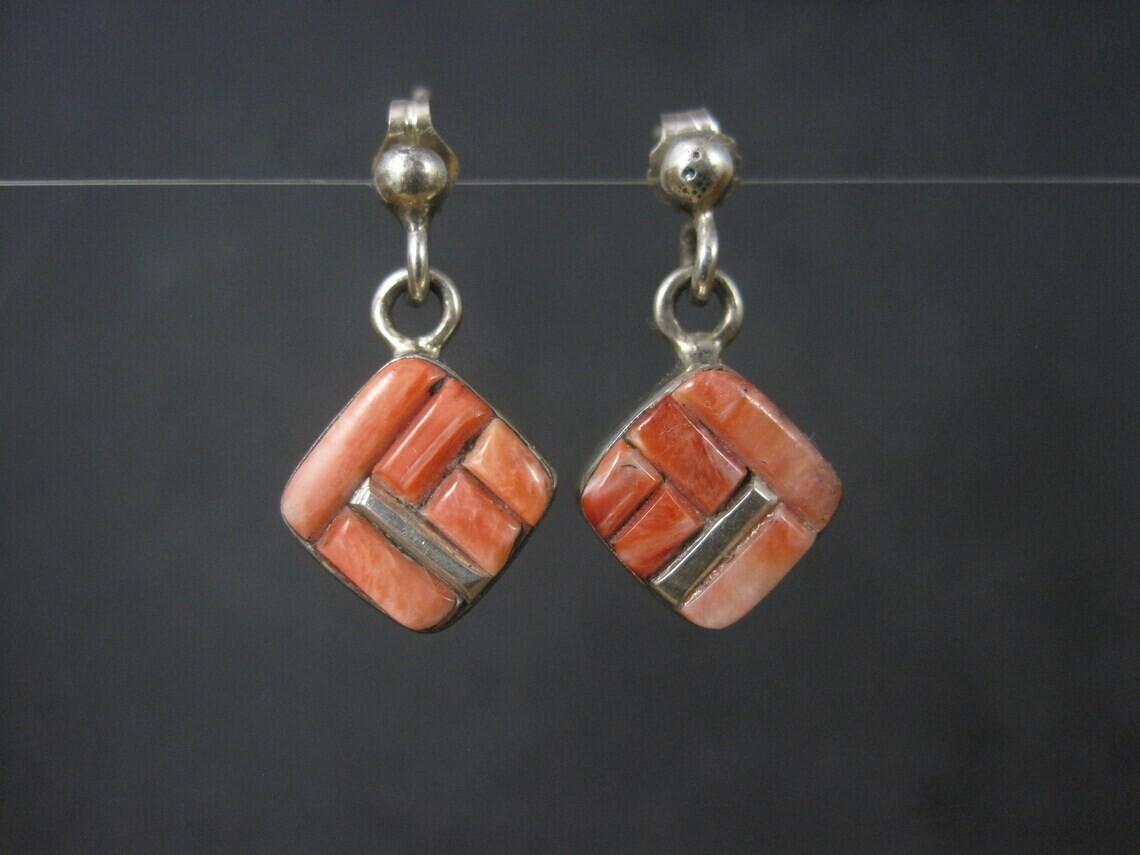Southwestern Sterling Coral Inlay Earrings
