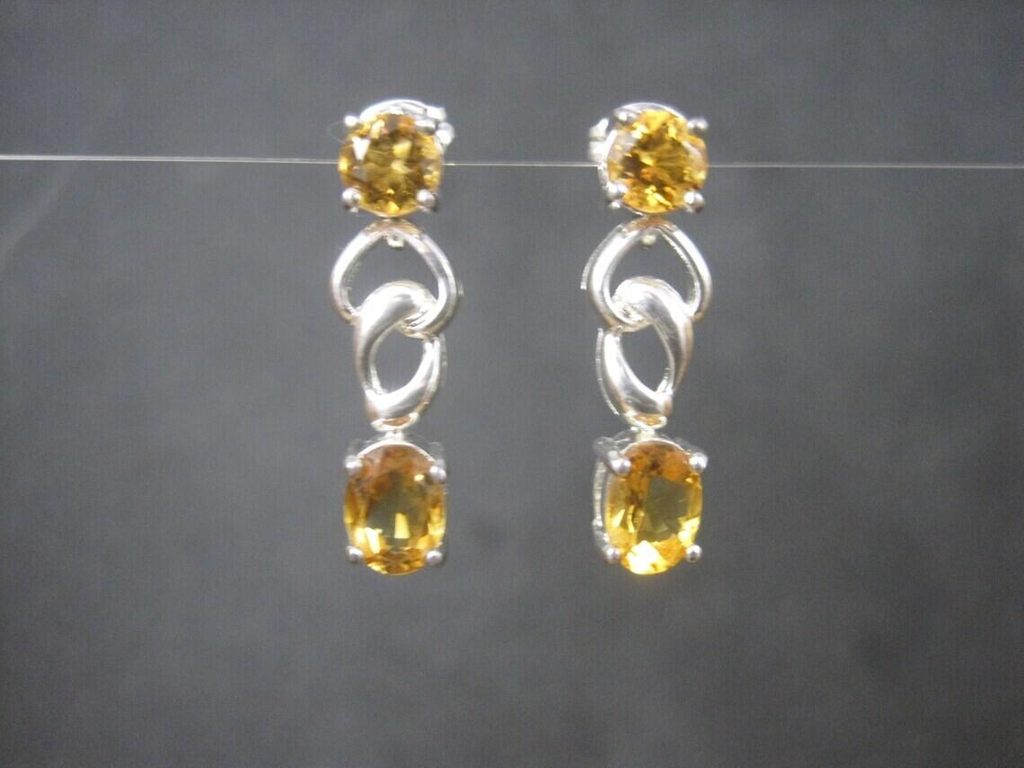 Estate Sterling Citrine Earrings
