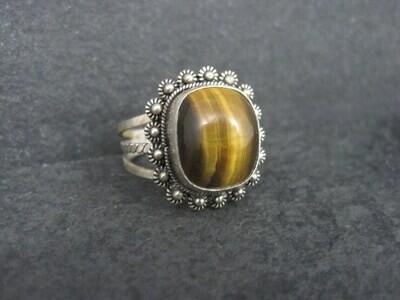 Vintage 950 Sterling Cannetille Tigers Eye Ring Adjustable Size 9