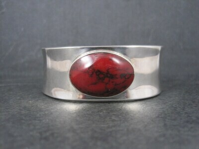 Mexican Sterling Faux Red Jasper Cuff Bracelet 6.75 Inches