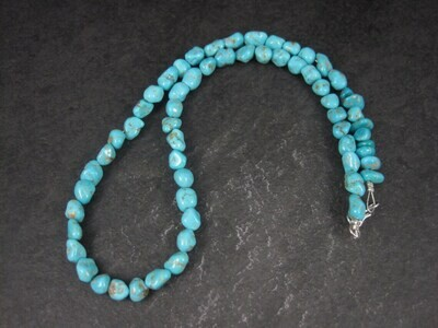 Estate Southwestern Sterling Turquoise Nugget Necklace 17.5 Inches