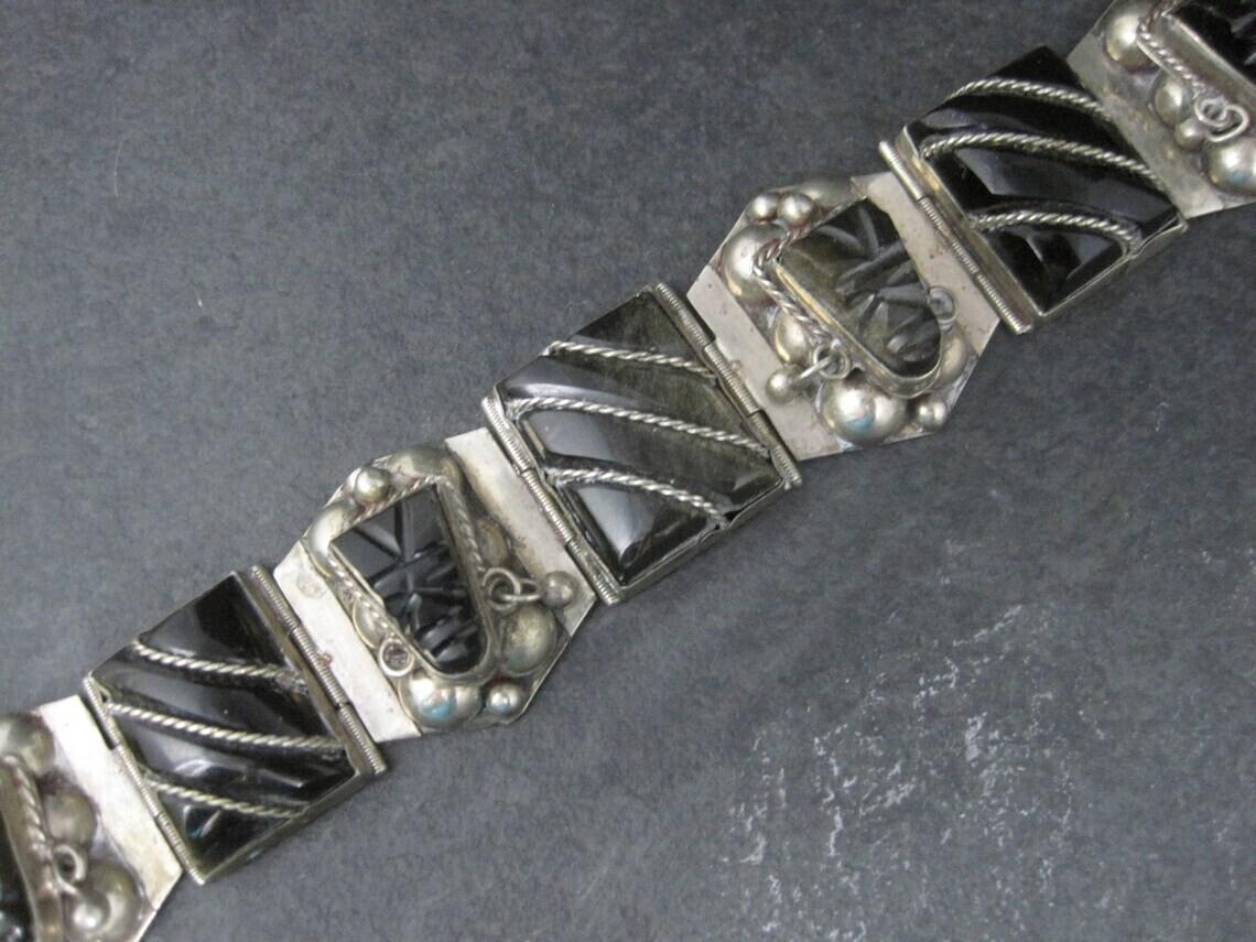 Vintage Mexican Sterling Obsidian Mask Panel Bracelet 7 Inches