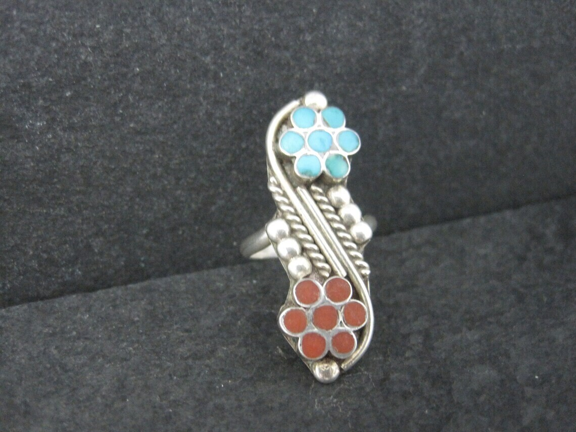Southwestern Sterling Turquoise Coral Inlay Flower Ring Size 5.5