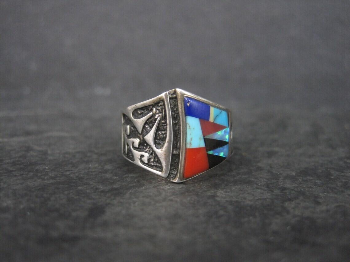 Vintage Southwestern Inlay Ring Size 5.5