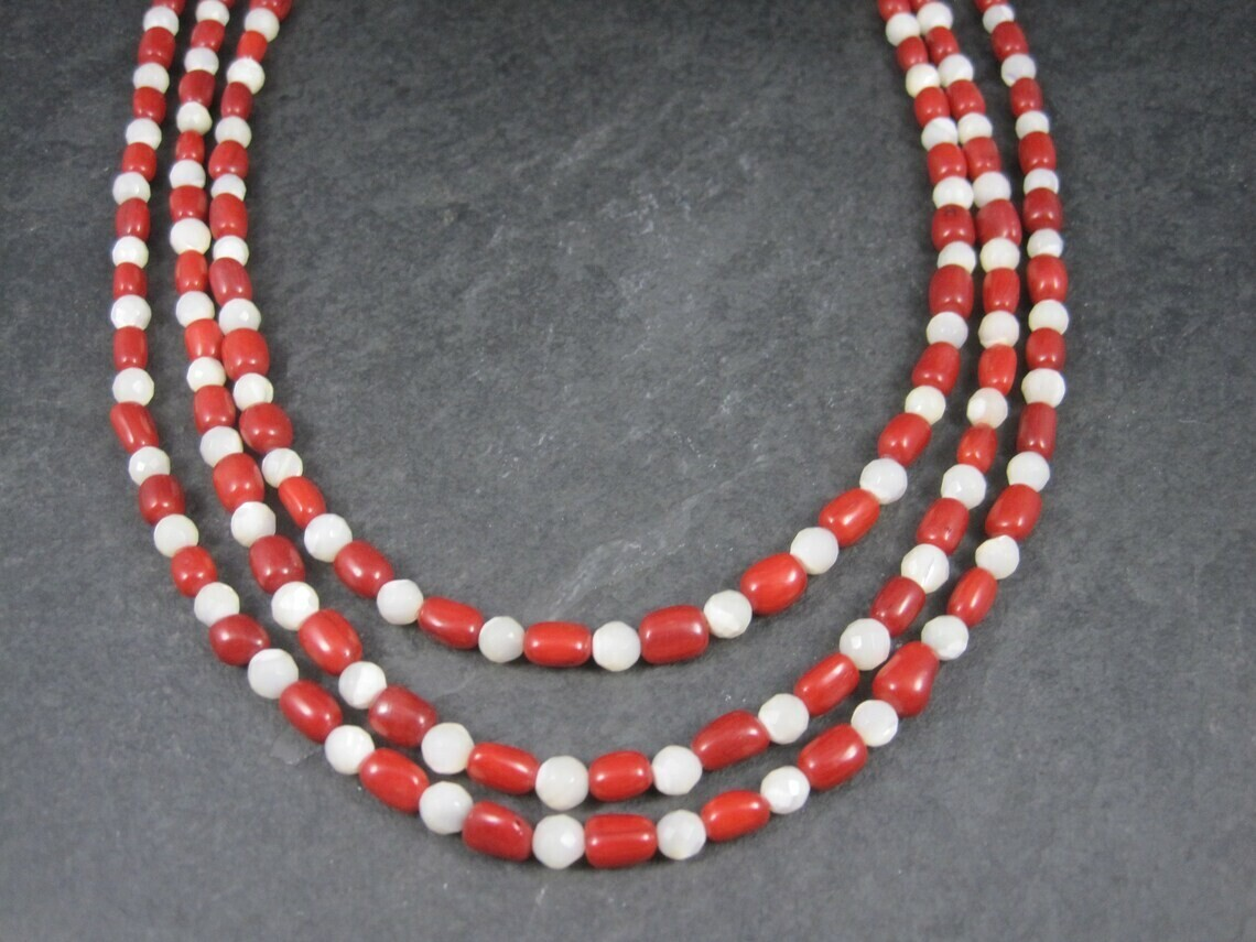 Estate Coral Mother of Pearl 3 Strand Necklace Desert Rose Trading