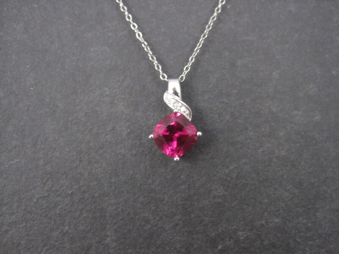 Retro 90s Sterling Synthetic Pink Sapphire Pendant