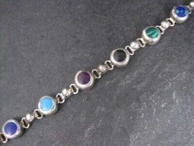 Vintage Mexican Sterling Gemstone Bracelet 7.25 Inches