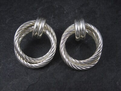 Large Sterling Twisted Circle Earrings