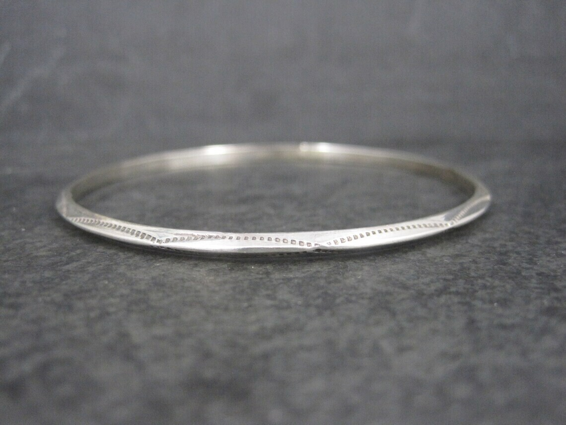 Southwestern Sterling Bangle Bracelet 8 Inches