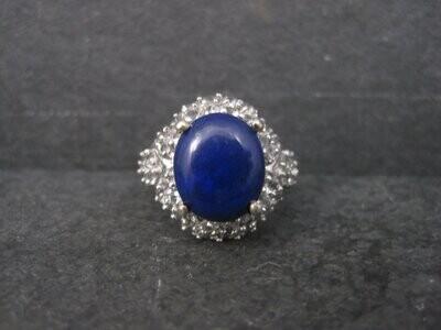 Vintage Sterling Lapis Lazuli White Topaz Ring Size 8