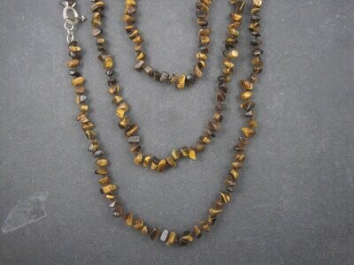 Vintage Opera Length Tigers Eye Toggle Necklace 83 Inches