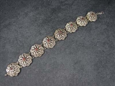 Vintage 90s Sterling Filigree Garnet Flower Bracelet 7.5 Inches